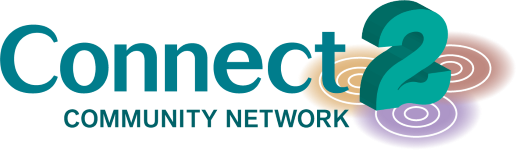 Connect2 Community Network logo with expanding circles below the 2